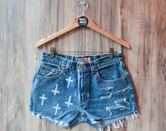 High waist vintage denim shorts | Ripped distressed shorts| Cross denim shorts | Hipster shorts |  Festival bohemian painted shorts
