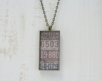 Vintage Connecticut License Plates Necklace | Unique Pendant | Connecticut Jewelry | Antique Bronze | Wearable Art