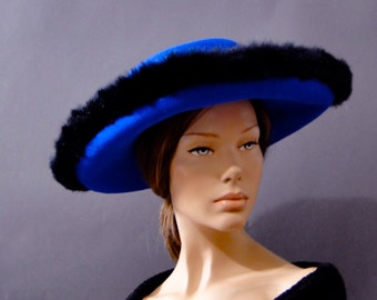 Vintage Hat Wide Brim Royal Blue Felt, Black Faux Fur Trim, 1970's Designer Mr. John Womens Vintage Accessories