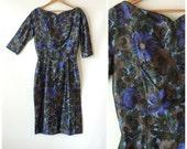 50s Silk Suzy Perette Dress / Blue Green & Brown Floral Print Silk Cocktail Dress / Wiggle Dress / Pencil Dress / Suzy Perette 50s Designer