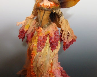 "OOAK ""Autumn"", a One of a Kind Art Doll fairy sculpture by Victoria Mock"