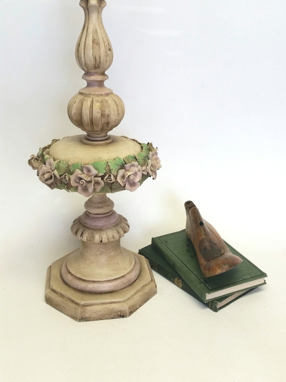 Vintage Lamp Table Lighting Wood With Porcelain Rose Details Hand Painted Aged