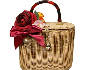Beautiful Rose and Orange Blossom Secret Garden Basket Handbag - One of a Kind