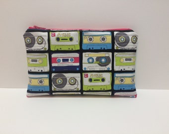 Cassette Tape Zipper Pouch. Trendy. Retro. 80s, 90s. Makeup Bag. Travel. Mix Tapes. Coin Purse. Pencil Pouch. Lime Green. Pink. Interfacing.