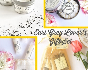 Earl Grey Tea & Body Gift Set ~ Organic Tea Gift / Tea Lover's Gift / Spa Gift / Bridesmaid Gift / Scented Soy Candle / Lotion Bar /Lip Balm