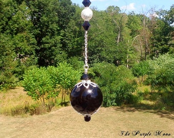 Witch Ball, Spirit Catcher, Rid Negative Entities, Sun Catcher, Rid Evil, Black Glass Ornament, Hand Blown Glass,Wiccan,Pagan