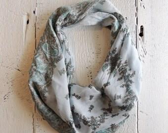 Light Blue Vintage Scarf/Boho Chic Scarf/Shabby Chic/Paisley Scarf/Blue Scarf/Teal Scarf/Turquoise Scarf/Pastel Accessory/Floral Scarf