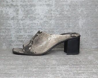 Vtg 90s Grey Snakeskin Asymmetric Chunky Mules Sandals 6.5 6 1/2