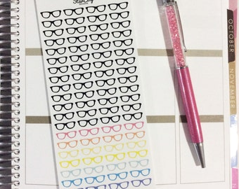 Reading Glasses Planner Stickers, Study stickers, Nerd Glasses, Reading Stickers, Geek Glasses, Cute Stickers, Eye Doctor stickers