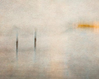 Seascape Print - Ready to Frame - Photographic Print - Beach - Muted Tones -wall art - moody - peaceful - impressionistic, orange