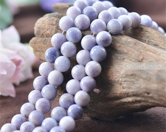 Grade A Natural Multi Tones Lavender Jade Beads 6mm 8mm 10mm 12mm Smooth Polished Round 15 Inch Strand JA41 Wholesale Gemstone Beads