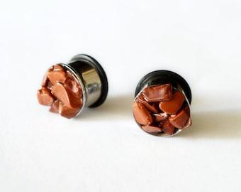 "jasper Gauge & Plug Earrings cute ear stretcher natural jasper ear plugs Christmas jewelry gift gemstone plugs 8g 6g 4g 2g 0g 00g 1/2"" 9/16"""