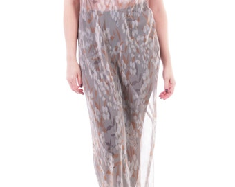Vintage Sheer Gray Floral Maxi Dress Long Sleeveless Mesh Summer Coverup 90s Clothing Womens Size Large