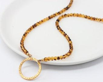 Tortoiseshell Lanyard with Gold - Glasses Hanger Necklace - Necklace for Glasses - Gold Eyeglass Holders - Tortoise Shell Glasses Lanyard
