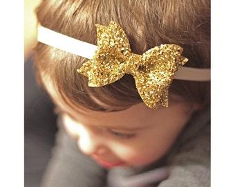 glitter bow, gold headband, sparkle headband, glitter headband, glitter fabric bow, baby girl headband, Christmas headband, READY TO SHIP