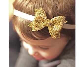 birthday headband, first birthday, baby headband, girl headband, baby girl bow, glitter bow, gold glitter bow,