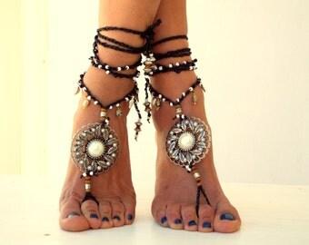 CALLISTO, Barefoot Sandals,   Beach Jewelry,  beaded sandals, Hippie Sandals, anklet