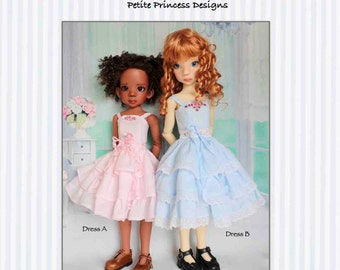 "PDF Pattern ""Summer Ruffles"" for 16"" and 18"" MSD Kaye Wiggs Dolls; 2 Ruffled Dress Variations"