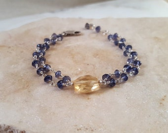 Sterling Silver Multi Strand Stacking Bracelet Iolite Citrine Modern Elegant Layering Chain Blue and Gold Fine Jewelry by Life Bijou