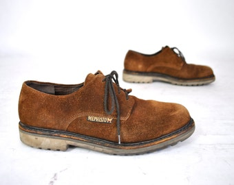 90s Mephisto SHERPA'S Brown Suede Shoes Lace Up Loafers Oxfords Casual Men's Walking Shoes Minimalist Comfort US 10 Made in France 1990s 80s