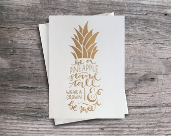 Pineapple Card, Handlettered Be A Pineapple Notecard, Typography Hand Illustrated Fruit Card, Hand Lettering, Gold Pineapple