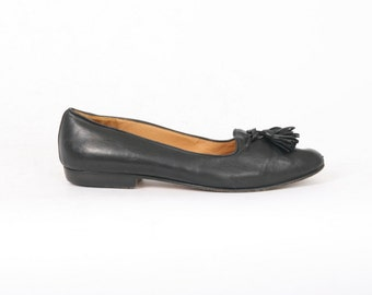 COLE Haan Womens US 8 Aa Black SOFT Leather Tassel Loafers Flats Au 6.5 7 Vintage Made in Italy Narrow Shoes