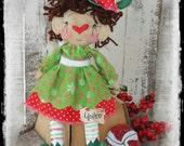 Adorable Christmas Elf Rag Doll, Primitive Folk Art, Holiday Decor, Elf Shelf Tuck, OFG FAAP