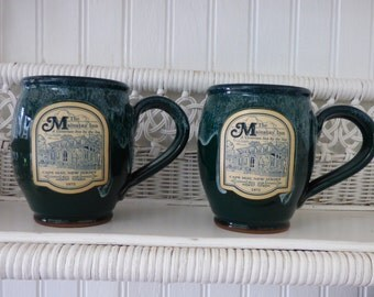 Set of Two Vintage Mugs - The Mainstay Inn - A Victorian Inn By the Sea - Circa 1872 - Cape May New Jersey - 2 Deneen Glazed Pottery Mugs