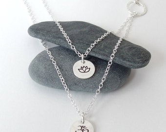 Lotus necklace OM Necklace  Silver layered necklace Ohm necklace Yoga jewelry om charm lotus charm double strand necklace hand stamped