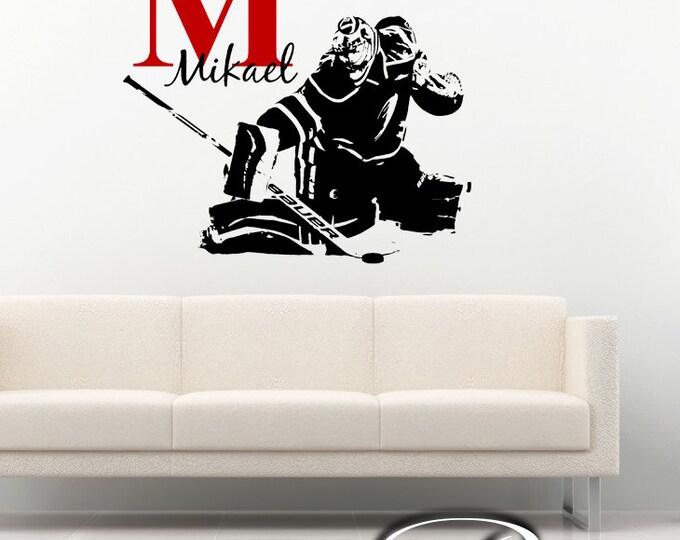Hockey Goalie Decal - ice hockey goaltender Custom first name Hockey Decor - Hockey wall art vinyl sticker -  headboard kids boy bedroom