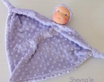 light purple Waldorf first doll -soft toy -lovey minky blanket -1st birthday gift- knot doll -newborn gift