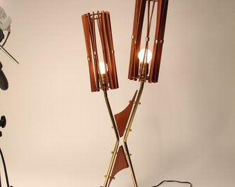 1960 TEAK ,  WALNUT and  brass tall table lamp mid century era made in the USA