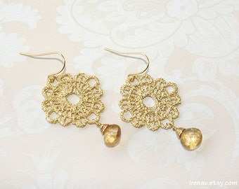 Gold lace earrings, Gold quartz earrings, Metal lace earrings, Dangle earrings, Teardrop Quartz Earrings, Gold Quartz Jewelry Christmas gift