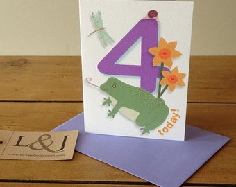 4th birthday card - happy 4 birthday greeting card - age 4 birthday card - four year old - fourth birthday card - 4 birthday card