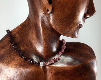 Garnet and Muscovite Necklace/ Almandine Garnet/ Muscovite/ gemstone/ necklace/ Haute Couture/ Jewelry