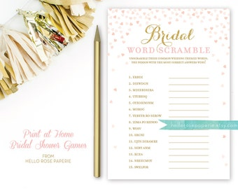 Bridal Word Scramble Bridal Shower Game . Pink and Gold Bridal Shower Games . Printable Instant Download . Gold Glitter Pink Confetti Hearts