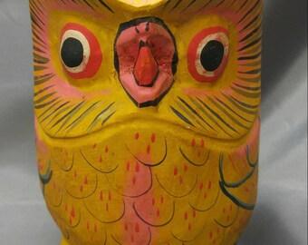Old vintage handmade hand painted carved wooden owl figure