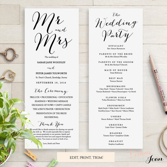 wedding programs instant download template  sweet by