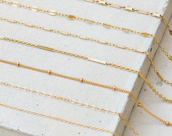 Custom Gold Filled Chain Choker Necklace - Choose your own chain, beaded chain, satellite chain, bar chain, cable chain