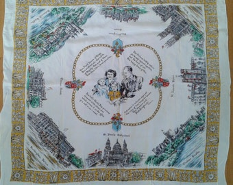 Vintage 1950's Queen Elizabeth II Coronation Royal Family Windsor Great Britain Souvenir Scarf Buckingham Palace Historic Memorabilia