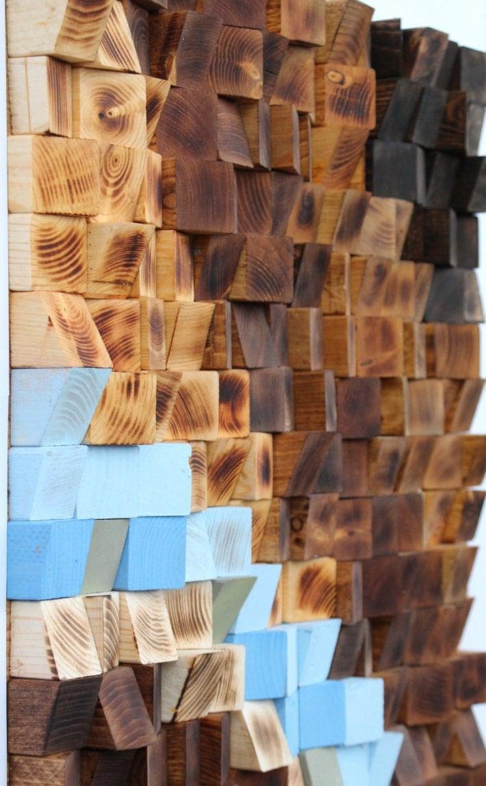 Reclaimed Wood Wall Art Woodburning Reclaimed Wood Wall Art Wood Mosaic Geometric