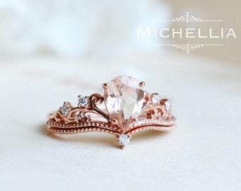 Pear Morganite Engagement Ring Set with Band, 14K 18K Rose Gold Vintage Crown Bridal Set, Art Deco Victorian Engagement Set with Diamond