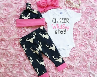 Baby Girl Coming Home Outfit, Deer Leggings, White Infant Bodysuit,Hat and Headband,Baby Girls Country Outfit,Customized Name,Newborn Baby