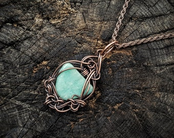 Willow Necklace, Amazonite Necklace, Copper Wire Pendant, Copper Necklace, Copper Wire Jewelry, Copper Wire Wrap, Copper Jewelry