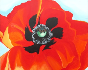 Poppy blossom, original painting, modern painting in bright red.