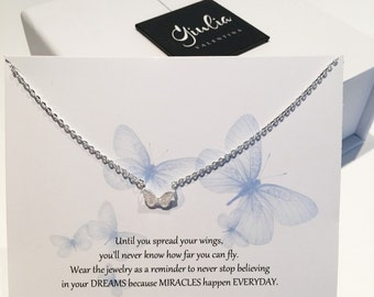 Tiny butterflies necklace Dainty necklace Small butterfly necklace Gift for her - Niece gift - Daughter gift - gift under 25