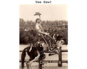 Vintage Photo - Yee Haw!  Cowgirl on a Bucking Bronco - INSTANT DOWNLOAD