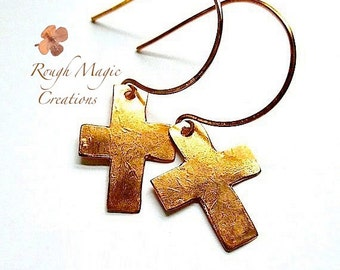 Old Rugged Cross Copper Earrings Christian Jewelry Rustic Primitive Metal Dangles Religious Statement Earrings Inspirational Gifts E394