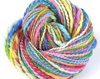 Handspun Yarn Soft Merino Hand Dyed Yarn Art Yarn Super Bulky Yarn Wool Chunky Yarn 146 yards Rainbow Yarn Hand Made in USA - Pastel Flower
