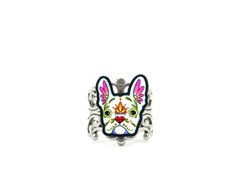 French Bulldog in White - Day of the Dead Sugar Skull Dog Adjustable Ring